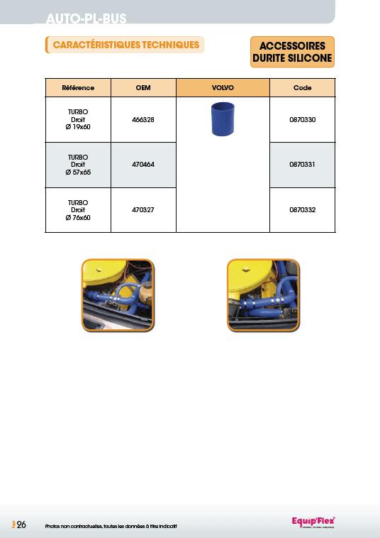 Accessoires durite silicone Volvo
