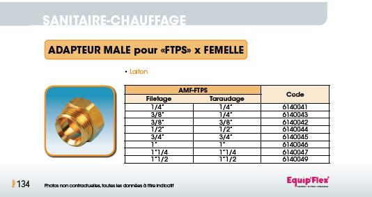 Adapteur Mâle pour FTPS x Femelle Portée Sphérique