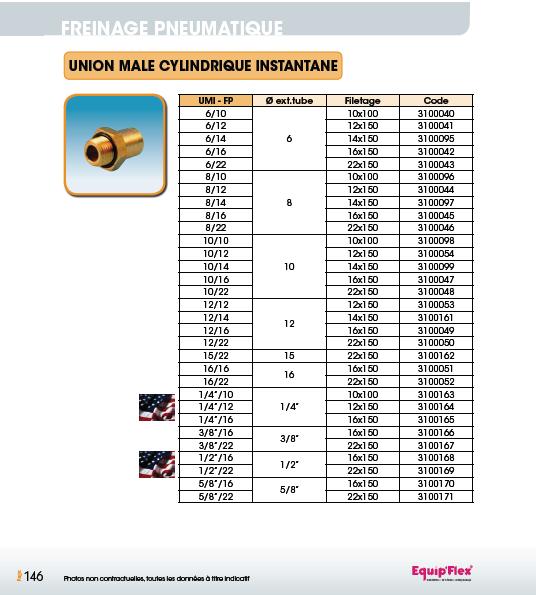 Union mâle cylindrique instantané