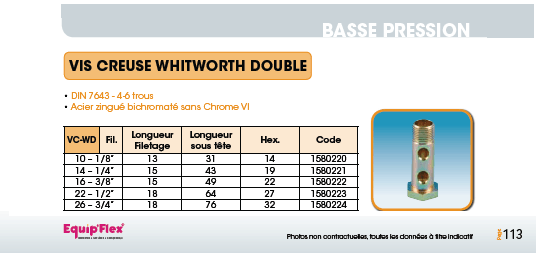 Vis creuse Whitworth DIN 7643 double