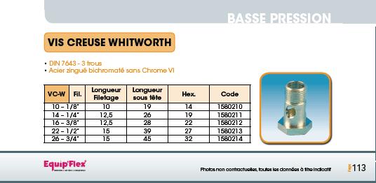 Vis creuse Whitworth DIN 7643