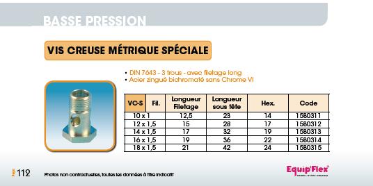 Vis creuse métrique DIN 7643 filetage long