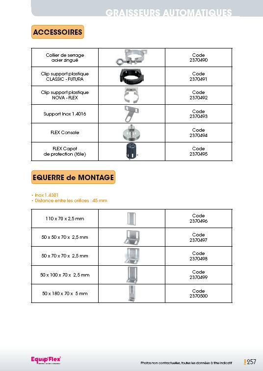 Accessoires et équerres de montage