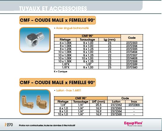 Adaptateurs et Coudes Mâle et Femelle Coude 90° mâle/femelle