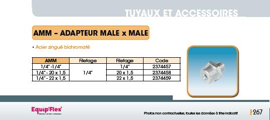Adaptateurs et coudes mâle et femelle Adaptateur mâle/mâle