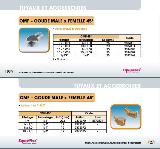 Adaptateurs et coudes mâle et femelle, Coude mâle/femelle 45°