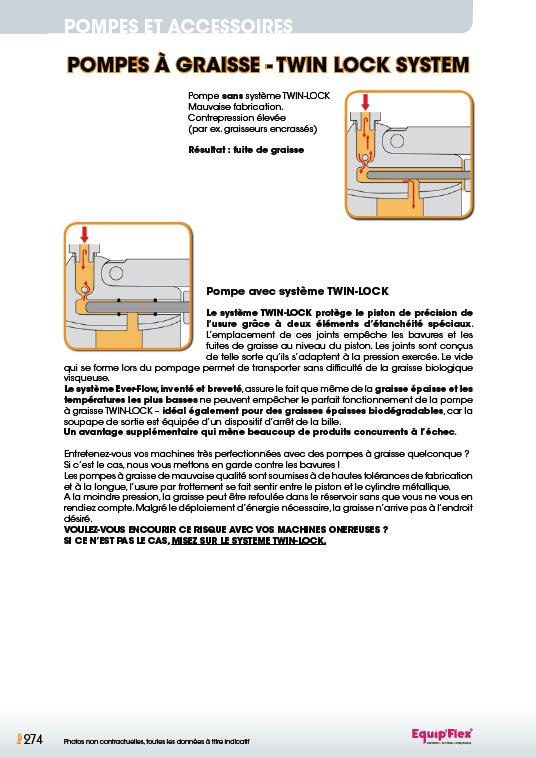 Caractéristiques pompes à graisse twin lock system