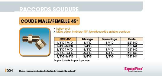 Coude mâle/femelle 45°
