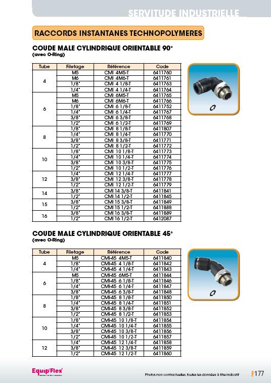 Coude cylindrique mâle orientable 90° et 45°