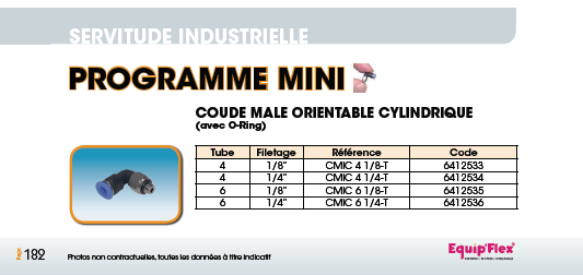 Coude mâle orientable cylindrique technopolymère MINI