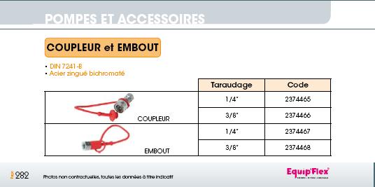 Coupleur et Embout DIN 7241-B