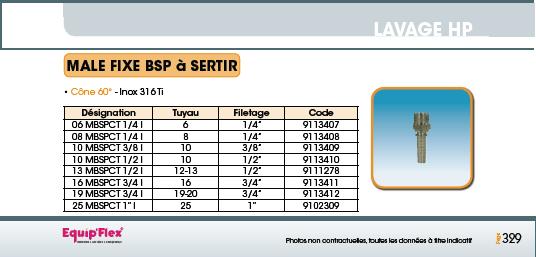 Mâle fixe BSP à sertir