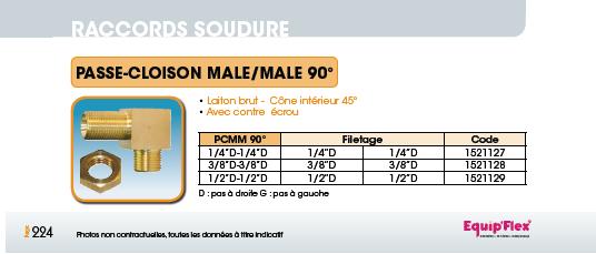 Passe-Cloison mâle/mâle 90°