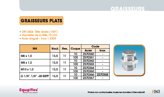 Graisseurs plats DIN 3404 Tête 10 mm Acier Inox