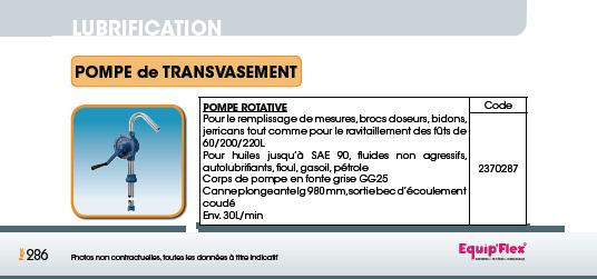 Pompe de transvasement rotative