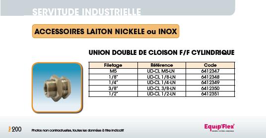 Union double de cloison F/F cylindrique