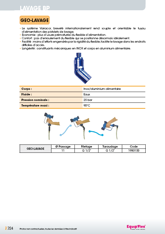 Raccord orientable GEO-LAVAGE