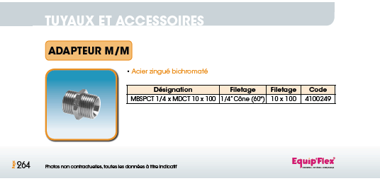 Raccord pour polyamide acier inox Adaptateur Mâle/Mâle