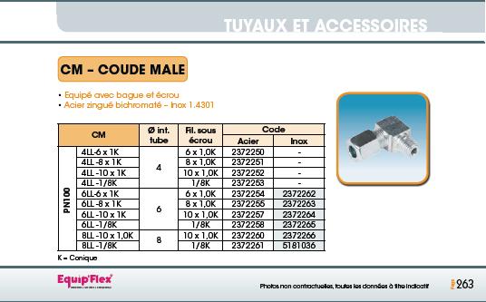 Raccord pour polyamide acier inox Coude Mâle