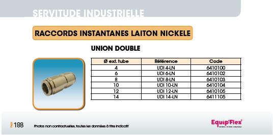 Union double laiton nickelé