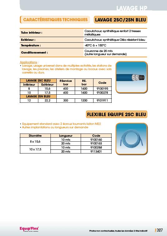 Lavage 2SC/2SN bleu et flexible