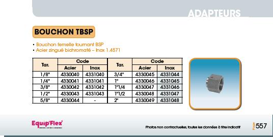 Adaptateur acier inox bouchon TBSP