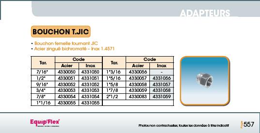 Adaptateur acier inox bouchon T.JIC
