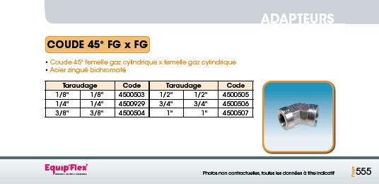 Adaptateur acier inox coude femelle femelle 45° FG x FG