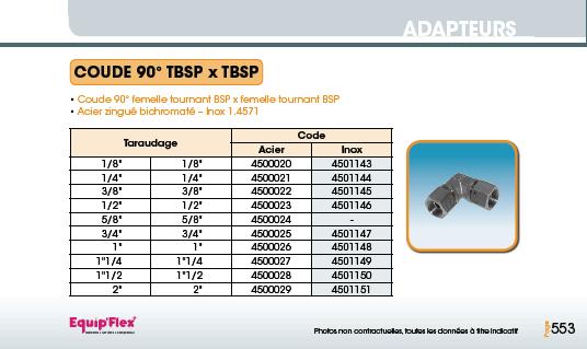Adaptateur acier inox coude femelle femelle 90° TBSP x TBSP