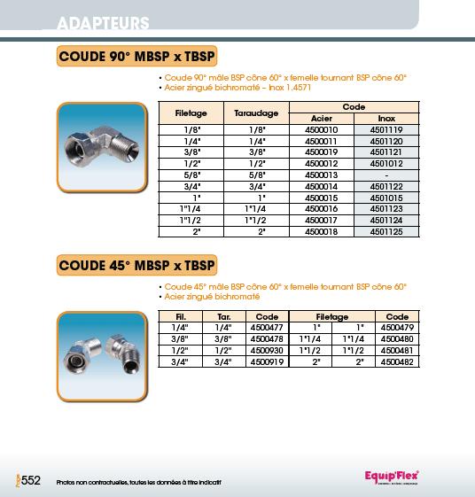 Adaptateur acier inox coude mâle femelle 90° et 45° MBSP x TBSP