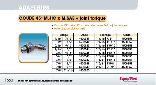Adaptateur acier inox coude mâle mâle 45° M.JIC X M.SAE plus joint torique