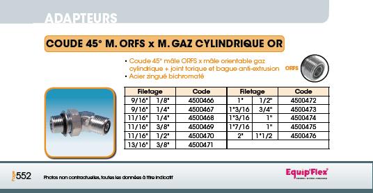 Adaptateur acier inox coude mâle mâle 45° M.ORFSXM.GAZ CYLINDRIQUE OR