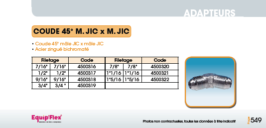 Adaptateur Acier Inox Coude mâle mâle 45° M.JIC x M.JIC