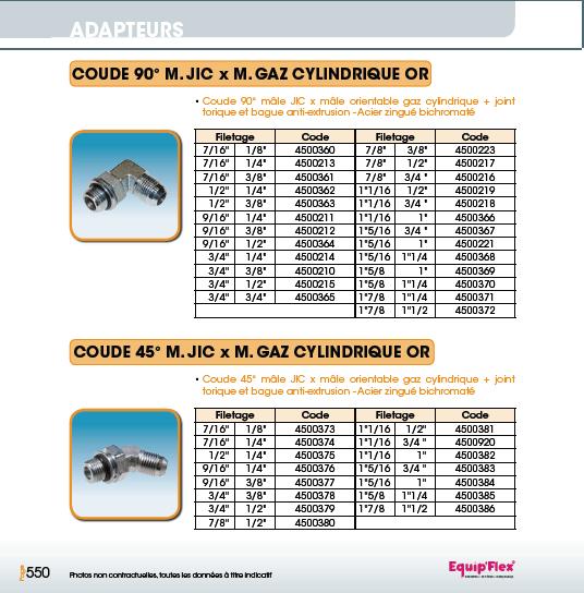 Adaptateur Acier Inox Coude mâle mâle 90° et 45° M.JIC x M. gaz cylindrique or