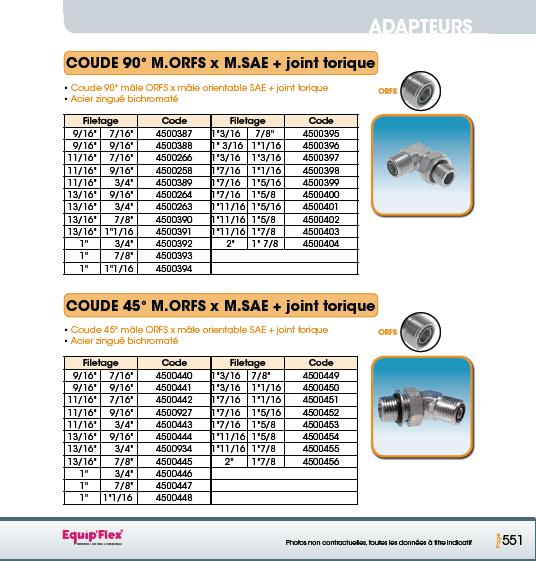 Adaptateur Acier Inox Coude mâle mâle 90° et 45° M.ORFS X M.SAE joint torique