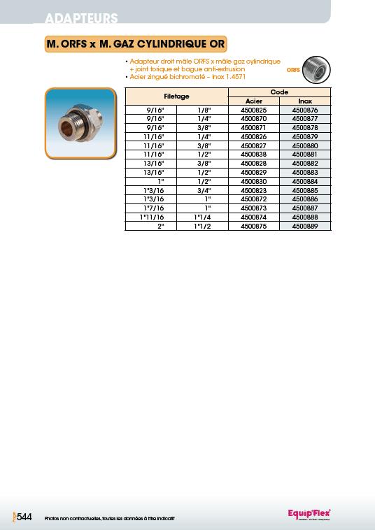 Adaptateur acier inox droit mâle mâle M.ORFS x M.gaz cylindrique or