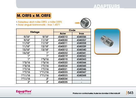 Adaptateur acier inox droit mâle mâle M.ORFS x M.ORFS