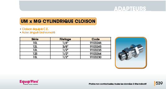Adaptateur acier inox droit mâle mâle UM x MG cylindrique cloison