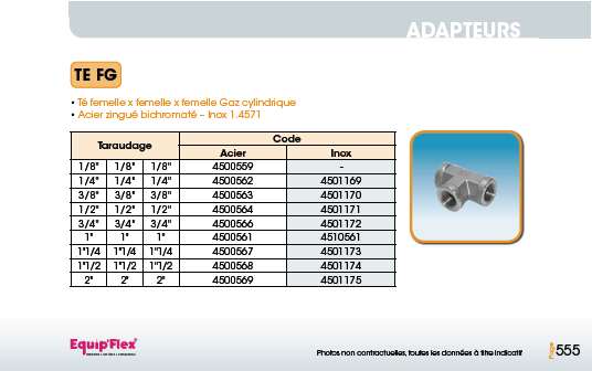 Adaptateur acier inox Té FG