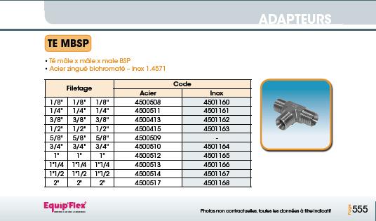 Adaptateur acier inox Té MBSP