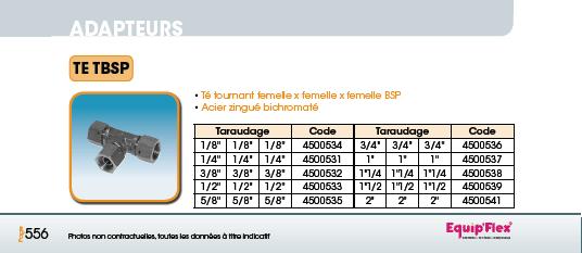 Adaptateur acier inox Té TBSP
