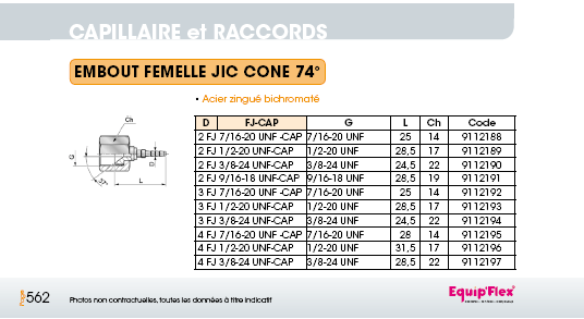 Capillaire embout femelle JIC cône 74°