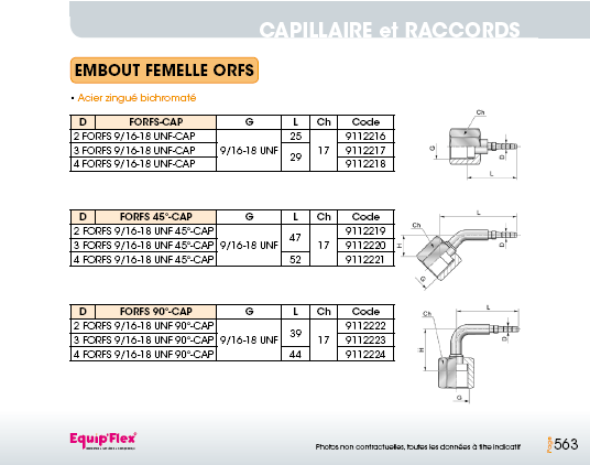 Capillaire embout femelle ORFS
