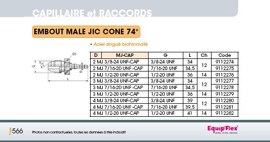 Capillaire embout mâle JIC cône 74°