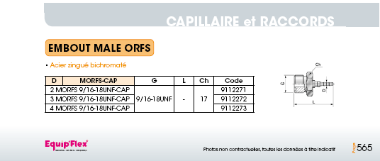 Capillaire embout mâle ORFS