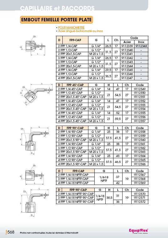 Capillaire portée plate pour manomètre droite 90° 45°