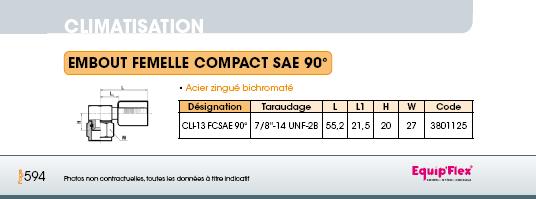Climatisation écrou tournant compact SAE 90°