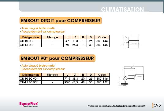 Climatisation embout compresseur droit 45° 90°