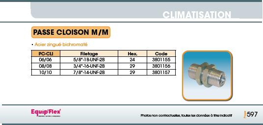 Climatisation passe cloison mâle/mâle