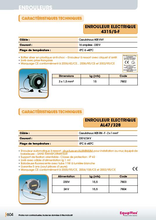Enrouleurs acier et inox électrique et lampes rechargeables 4315, S-F et AL47 328